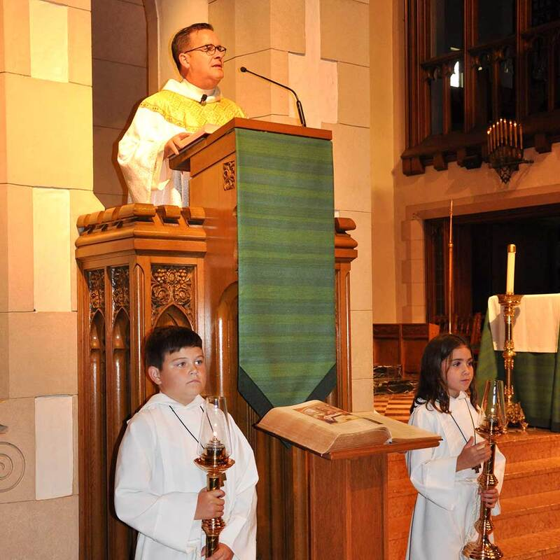 Fr. Wayne Watts with altar servers at St. Joseph Church